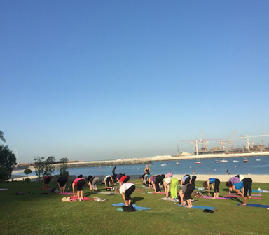 Personal training in dubai for group yoga class